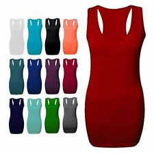 Ladies Womens Sports Gym Racer Back Long Bodycon Top Muscle Back Vest Size 8-26