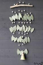 Handmade Ceramic Garden Hanging Windchime Green Butterfly Ornament Lime Bell