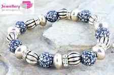 Elasticated Gold Crystal Crown Shamballa Bead bracelet Ladies Womens Gift