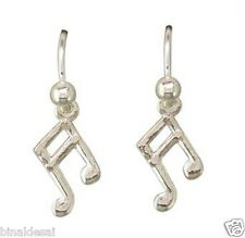 Girls 925 Sterling Silver Plain Small Musical Note Hook Drop Earrings B'DayGIFT