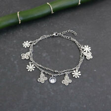 Armband Blatt Blätter Blumen Ranke floral Kristall Strass silber rhodiniert klar