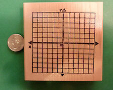X-Y Axis Math Rubber Stamp, wood mounted