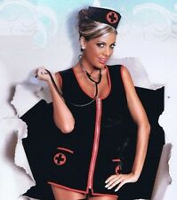 LINGERIE NURSE BETTY COSTUME BLACK RED DRESS Q/S 1X 2X 3X