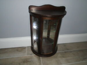 Wall Mount or Table Top Curio Glass Door Cabinet Display Case Bowed Front
