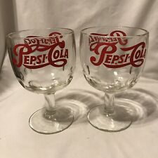 Vintage Red Logo Pepsi Cola Heavy Chalice Clear Glass Thumbprint Goblets Glasses