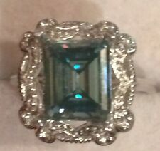 Engagement Ring .925 Sterling Silver 2.90Ct Emerald Cut Real Moissanite