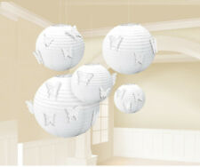 5 Large White Paper Lanterns w/ Butterfly Attachments Hanging Wedding Decoration