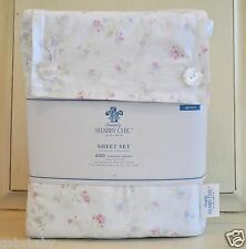 Rachel Ashwell Simply Shabby Chic Cotton Candy Pink Blue Flower QUEEN Sheet Set