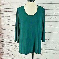 Chico's Travelers green Tunic Style 3/4 sleeve blouse shirt    3B