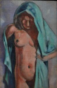 Friedrich Vogel, Stehender weiblicher Akt en face mit Tuch, Öl auf Leinwand