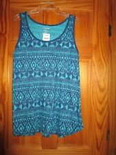 WOMEN'S PLUS SIZE AQUA AND NAVY TANK TOP  SIZE  26/28