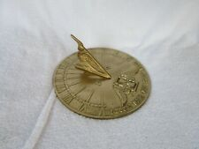 """Vintage Heavy 8.25"""" Brass Sundial [ I Count None But Sunny Hours ] Garden Eagle"""