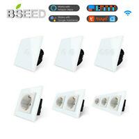 BSEED WLAN 1/2/3Fach Lichtschalter Touch Smart Wandsteckdosen Glas WIFI Schalter