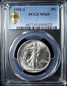 1942-S Walking Liberty Silver Half Dollar - PCGS MS 65 - Gold Shield