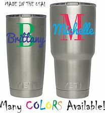 Monogram Initial Decal with Name for YETI Rambler Tumbler 20 30oz Cup Ozark Viny