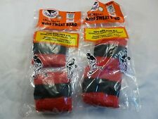2 PACK VINTAGE FLARICO USA Wristbands Sweatband  RED / BLACK  COLOR NOS