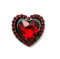 3D Crystal Heart Chunk Charm Snap Button Fit For Noosa Necklace/Bracelet  NSKZ9