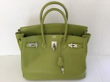 100% Authentic Hermes Birkin 35cm Kiwi-Color Bag .France e58ff705b13a3