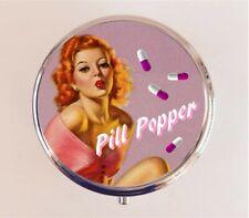 Pill Popper Pill Box Pillbox Case - Pinup Girl Funny Retro Humor Stash Box