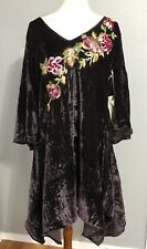 NWT ARATTA Take The Stage Velvet Tunic Dress L Eggplant