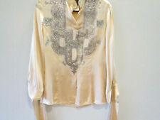 just cavalli SILK Blouse with Metallic Embossed Front Size 46