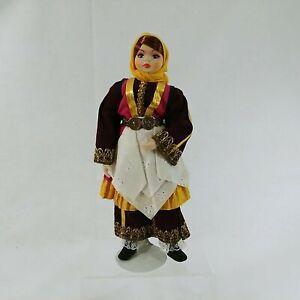 "Doll Girl Figurine on Metal Stand Traditional Greek Costume Handmade 12.5"""
