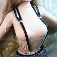 Mens Women Leather Suspenders Y-Back Retro Braces Clip-On belt Black