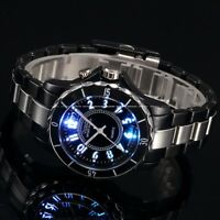 New Fashion LED Light Stainless Steel Analog Quartz Men's Waterproof Sport Watch