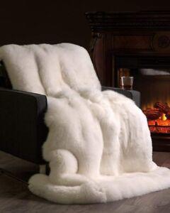 5stars full skin WHITE  Fox  FUR throw,fur comforter,fox fur blanket,fur rug