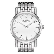 Bulova Men's Quartz White Dial Silver-Tone Bracelet Slim Watch 96A115