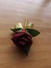 Wedding rose (burgundy) buttonholes x 1 diamante or pearls gold ribbon bow