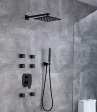 Brass Black Shower Set Bathroom Faucet Wall Shower Arm Diverter Mixer Handheld