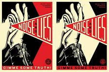 Noise & Lies Set of 2 Prints Red & Cream - Shepard Fairey Signed Numbered Obey