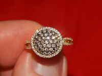 14K YELLOW GOLD  LEVIAN 1.00 TCW WHITE & CHOCOLATE DIAMOND HALO RING SIZE 7
