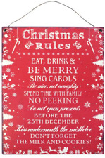 Christmas Rules Metal Hanging Sign Wall Plaque Shabby Chic Gift Homeware