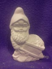 """FREE SHIPPING 5"""" Gnome with wheelbarrow ready to paint ceramic bisque"""