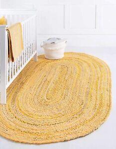 Rug 100% Natural Cotton Reversible Oval Rug Home Living Modern Carpet Area Rug