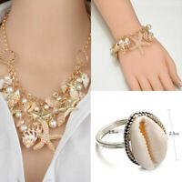 Fashion Jewelry Starfish Sea Shell Necklace Faux Pearl Chunky Statement Bib