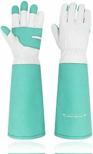 Women Men Leather Gardening Gloves Long Sleeve Rose Pruning Thornproof Gauntlet