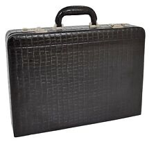 Large Attache Briefcase Croc Print Business Leather Look Organiser Bag Black