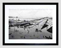 PIER AND BRIDGE SOUTHPORT VINTAGE HISTORY OLD BW FRAMED ART PRINT MOUNT B12X563