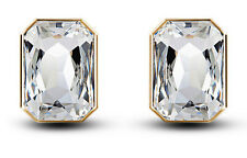 Gold & White Rectangle Shape Large Size Presentable Stud Earrings E775