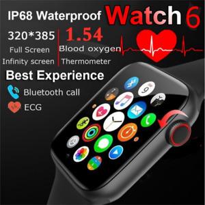 2021 Full HD Smart Watch 6 MAKE CALL Temperature ECG Blood OXYGEN /Heart Monitor