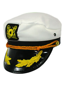 Adult Yacht Boater Sailor Ship Captain Hat Cap Navy Marine Admiral Costume