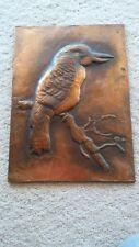 Kookaburra Vintage Handmade Beaten Copper Plaque on board-Circa 1960s