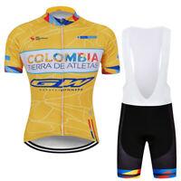 Men's Cycling Jersey Bib Shorts Kits Orange Short Sleeve Riding Shirt Shorts Set
