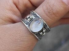 Adjustable Tibetan Natural Oval Big Rainbow Moonstone Gemstone Dotted Ring