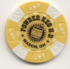 Powder Keg Harley Davidson Mason Ohio Custom Yellow Poker Chip