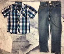 Euc Boys Children Place Jeans Skinny 7 And Shirt Us Polo Assn. 5-6 Set Bundle.