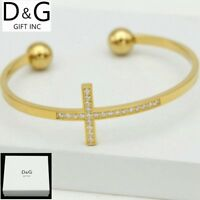 "DG Women's 6.5"" Gold Stainless Steel,CROSS CZ Cuff Bangle Bracelet Unisex + Box"